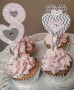 pink and gray chevron themed baby shower