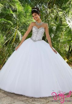 Valencia Quinceanera by Morilee 60093 Rhinestone and Crystal Beading on a Tulle Ball Gown, Removable Beaded Spaghetti Strap, Matching Bolero Jacket Tulle Balls, Tulle Ball Gown, Tulle Dress, Ball Gowns, White Quinceanera Dresses, Prom Dresses, Wedding Dresses, Quinceanera Ideas, Sweet 15 Dresses
