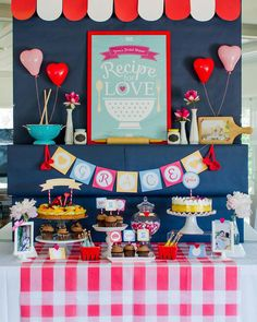 kitchen themed retro bridal shower with bright pink gingham