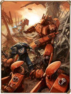 Risultati immagini per tau warhammer Warhammer Paint, Warhammer 40k Art, Warhammer Games, Tau Battlesuit, Science Fiction, Tau Empire, The Grim, Space Marine, Sci Fi Fantasy