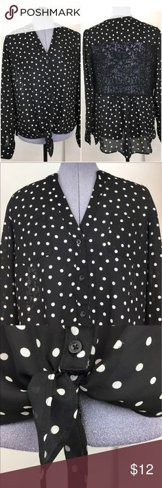 Candies L polka dot blouse Lightweight and comfy!  Great for work or with jeans. Tops Blouses