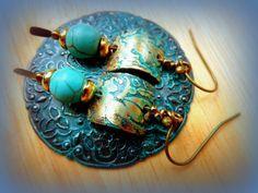boucles turquoises et gravure : Orecchini di jocelyned57