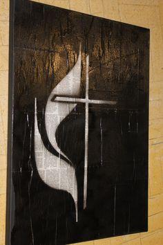 "Methodist Cross and Flame (18x24"")"