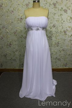 simple white strapless empire column chiffon wedding dress. $186.00, via Etsy.