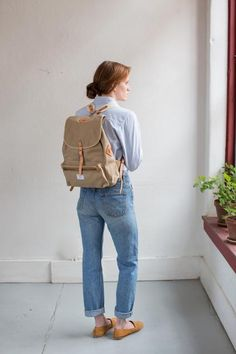 A classic rucksack for sojourns, school, or work. Handmade in our Omaha studio. Sturdy cotton twill or canvas American sourced leather (Wickett & Craig) Hand-aged solid brass hardware Fashion Backpack, Holiday, Gift, Cotton, Bags, Collection, Handbags, Vacations, Holidays