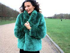 Vermine et Hiolaine - Veste Blossom la Maison Victor - Manteau en fourrure vert
