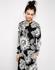 ASOS AFRICA Print Top with Chiffon Back