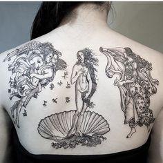 Sandro Botticelli's Birth of Venus inspired back tattoo