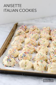 Anisette Italian Cookies - A Healthy Life For Me - Annisette Italian Cookie Recipe delicate cake like cookies glazed and topped with sprinkles Italian Cookie Recipes, Italian Desserts, Easy Cookie Recipes, Dessert Recipes, Italian Pastries, Italian Foods, French Pastries, Sweet Recipes, Easy Recipes