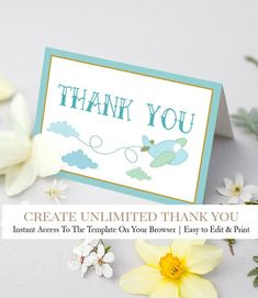 Airplane Baby Shower Thank you cards. With blue colors, airplane, clouds, up up and away theme. Perfect for a boy, girl or gender neutral baby shower!  Cheap, DIY & 100% Editable Printable Template - CLICK & TRY FOR FREE! Gender Neutral Baby Shower, Baby Shower Themes, Baby Shower Decorations, Printable Thank You Cards, Thank You Tags, Airplane Baby Shower, Baby Shower Thank You Cards, Blue Colors