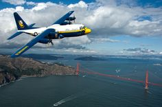 "Blue Angels' Hercules ""Fat Albert"" over the Golden Gate Bridge - San Francisco, CA C 130, Blue Angels, Fleet Week San Francisco, C130 Hercules, Aircraft Photos, Male Eyes, Military Photos, Military History, Military Jets"