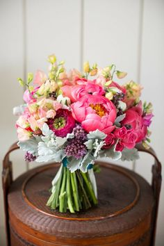 Vibrant Bridal Bouquet // Style Me Pretty