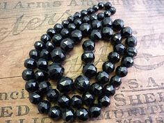 Antique Victorian Jet Necklace, faceted beads