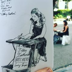 Found this lovely little bird in the street this evening the infamous poetess the cunning linguist Miss @filthyfeatherspoetry . Thank you for trading me this drawing for one of your splendid poetry. #artistsoninstagram #filthyfeatherspoetry #poet #poetry #pen #words #handwriting #handwritten #art #artist #instalike #illustrator #illustration #nola #neworleans #showmeyournola #royal #royalstreet #frenchquarter #journal by treybryan