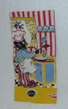 Vintage Black Americana Towel with Chef Cook Kitchen by crazy4me, $50.00