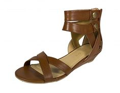 City Classified Womens Impala Open Toe Strappy Buckle Ankle Strap Low Heel Sandal tan leatherette 85 M US *** This is an Amazon Affiliate link. Check out the image by visiting the link.