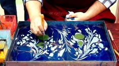 Resin in a tray, adding colour. Wonderful effect pulling the colours into one and other.