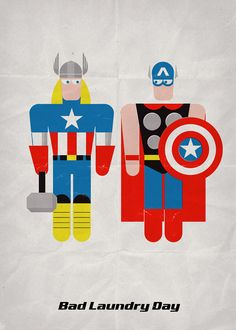Bad Laundry Day (1) – Thor & Captain America. Print 12x17in / 30x42cm + FREE Button Pin, Price: $22.00