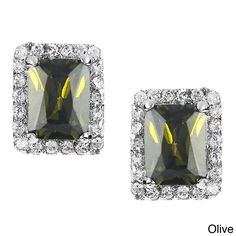 Journee Collection Silver-tone Cubic Zirconia Rectangle Stud Earrings