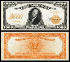 Large denominations of United States currency - Wikipedia Money Template, Make Money From Pinterest, Money Worksheets, Money Notes, Rare Coins Worth Money, Canadian Coins, Gold Money, Coin Worth, World Coins
