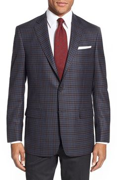 Hart Schaffner Marx 'New York' Classic Fit Check Wool Sport Coat Business Attire, Business Women, Tuxedo Jacket, Suit Jacket, Mens Sport Coat, Sport Coats, Nordstrom, New York S, Casual Blazer