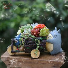 Succulent Planters / Indoor Pots Totoro Car Plant Pots Miniature Garden Container Succulent Terrarium Miniature Garden Containers USD) by RukawaBeads Resin Planters, Garden Planters, Planter Pots, Succulent Planters, Garden Container, Wheelbarrow Planter, Totoro, Fairy Garden Supplies, Gardening Supplies
