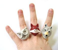 woodland animals ceramic folk rings via etsy