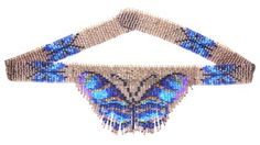 Blue Leaf Butterfly Weave Fringe Necklace : Beading Patterns and kits by Dragon!, The art of beading.