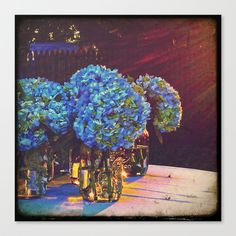 Blue Hydrangeas in Mason Jars Stretched Canvas by Traveling Gal Photos - $85.00