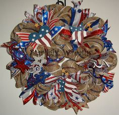 Red White and Blue Patriotic Burlap Mesh by StarlightWreaths