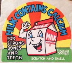 Vintage 80's Mello Smellos Scratch & Sniff Sticker Milk