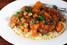 Vegan butternut squash and chickpea stew