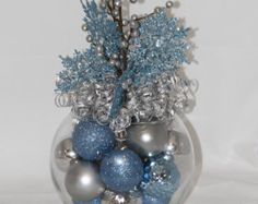 christmas centerpieces Christmas Centerpiece - Ice Blue and Silver Holiday Decoration - Christmas Home Decor - Blue Christmas Decoration - Hostess Gift Blue Christmas Decor, Christmas Decorations For The Home, Silver Christmas, Christmas Centerpieces, Xmas Decorations, Christmas Home, Christmas Holidays, Christmas Wreaths, Christmas Crafts