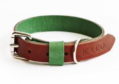Country green and brown leather collar – Kipper & Co.