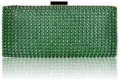 Amazon.com: Womens Designer Handbags - Ladies Green Sparkly Diamante Evening Party Clutch Handbag: Shoes