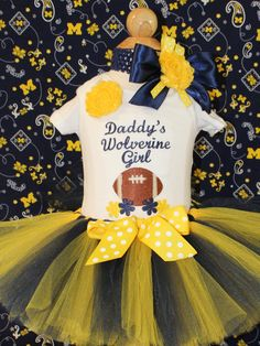 Wolverine baby girl outfit,Michigan Wolverines,Maize and Blue tutu,Michigan blue and yellow headband,Daddy's girl bodysuit,Football outfit by DollyWollySewing on Etsy