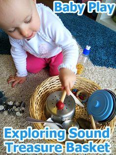 Activities for Babies: Exploring Sound Treasure Basket - Baby Development Music Activities, Infant Activities, Activities For Kids, Preschool Music, Learning Games, Kids Learning, Cognitive Development Activities, Toddler Development, Baby Sensory Play