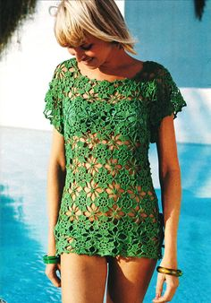2ndlookvintage on Etsy   Vintage 1970s Crochet Lacy Flower Beach Dress #crochet #pattern #tunic