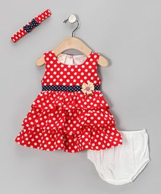 Another great find on #zulily! Red Polka Dot Ruffle Dress Set - Infant #zulilyfinds