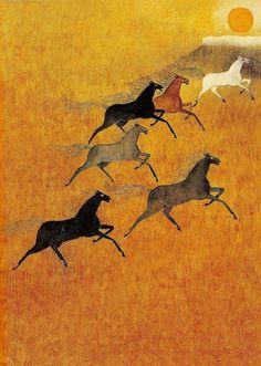 "hitku: "" The horses go up into the mountains - Helga Aichinger "" Native Art, Native American Art, Horse Illustration, Horse Drawings, Equine Art, Aboriginal Art, Western Art, Horse Art, Ancient Art"