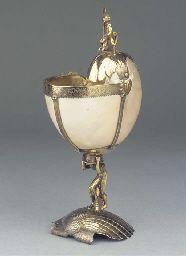A silver-gilt nautilus cup