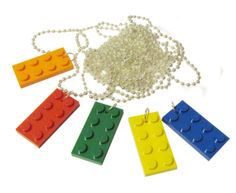 10 Birthday Party Favors Primary Colors Neckalces Made from Legos (r) Boys girls adjustable