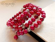 Red Pearl Bracelet Wrap Bracelet Multi Strand