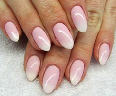 ombre effect pointy nails, with pale pastel pink, and white tips, romantic and c. - Acrylic Nails Short - Nail - The World Manicures, Gel Nails, Acrylic Nails, Almond Shape Nails, Almond Nails, Acrylic Nail Designs, Nail Art Designs, Nagel Stamping, Nailart