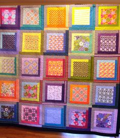 Flowered Modern Log Cabin Quilt Twin/Full by uniquelynancy on Etsy, $390.00