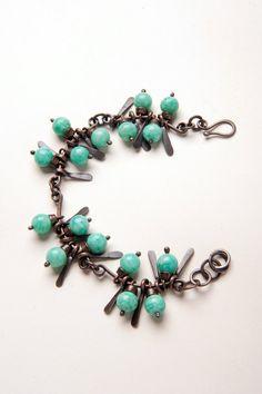 Amazonite summer bracelet, natural amazonite, chunky, oxidized copper, boho
