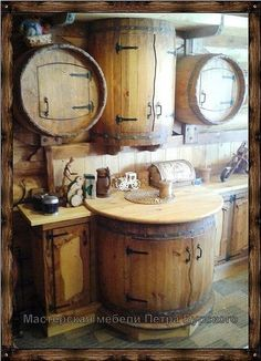 This would be cute for my coffee bar Rustic Kitchen Cabinets, Kitchen Decor, Kitchen Design, Cabin Homes, Log Homes, Bar Sala, Outdoor Kitchen Bars, Cabin Kitchens, Rustic Furniture