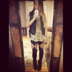 Fall #ootd garter leggings with ripped tee by Iro, leather vest by Top Shop