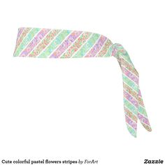 Cute colorful pastel flowers stripes tie headband Train Like A Beast, Sweat Out, Tie Headband, Pastel Flowers, All Print, Party Hats, Art Pieces, Stripes, Colorful