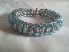 Aqua Glass Caterpillar Glass and Chainmaille by galiam34jewelry, $40.00